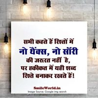No Thanks No Sorry in Relationship Quotes in Hindi