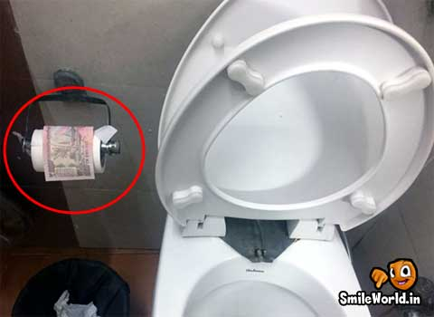 500 and 1000 Rupee Notes as Toilet Paper Use Funny