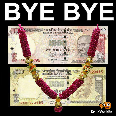 Bye Bye 500 and 1000 rs Latest Indian Funny Photos