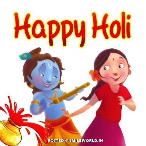 Radha Krishna Holi Greetings in Hindi
