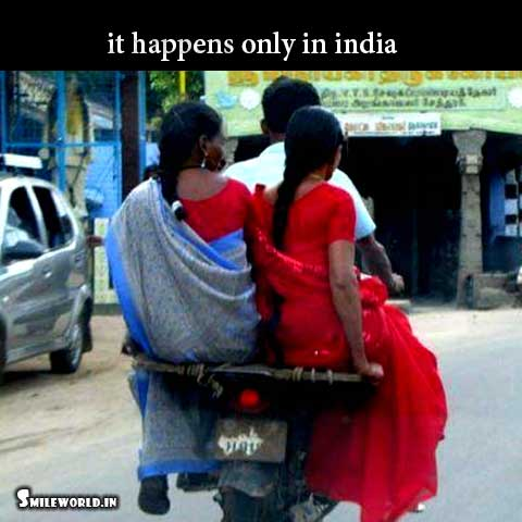 Two Indian Lady Riding A Bike Funny Photos