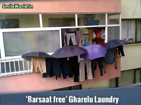 Barsaat Free Gharelu Laundry Funny Hindi Image