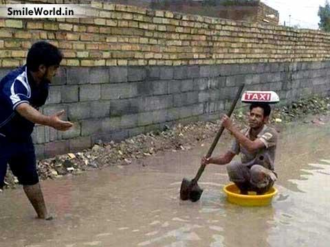 Indian Texi in Rain Rainy Season Funny Images