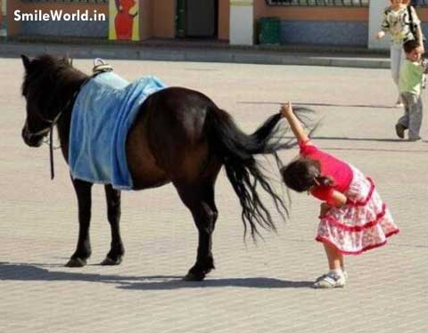 Cute Kids Funny Horse Photos for Whatsapp