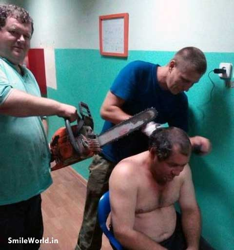Funny Man Hair Cutting Pictures