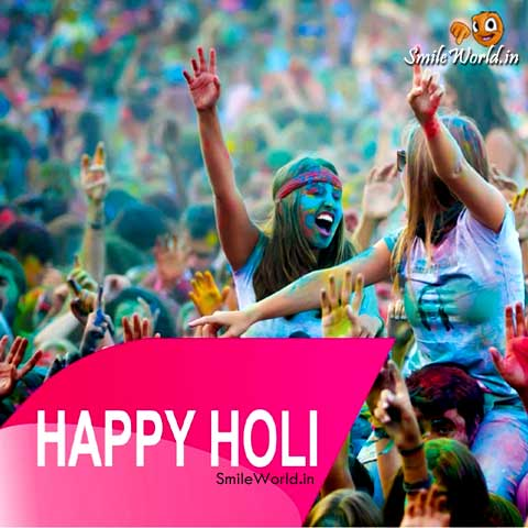 girl happy holi images ecards