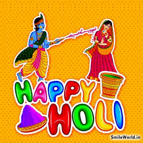Radha Krishna Play Happy Holi Wishes in Hindi Shayari