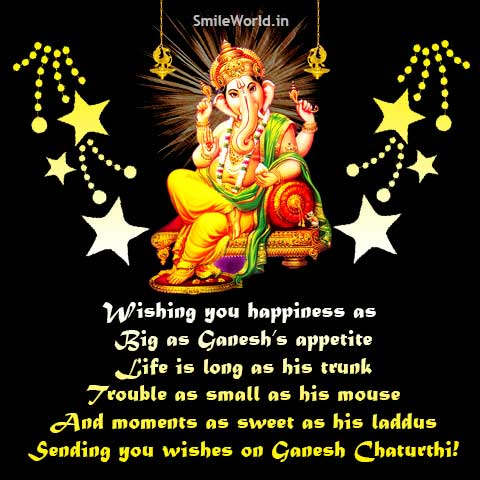 Happy Ganesh Chaturthi Greetings SMS Wishes in English